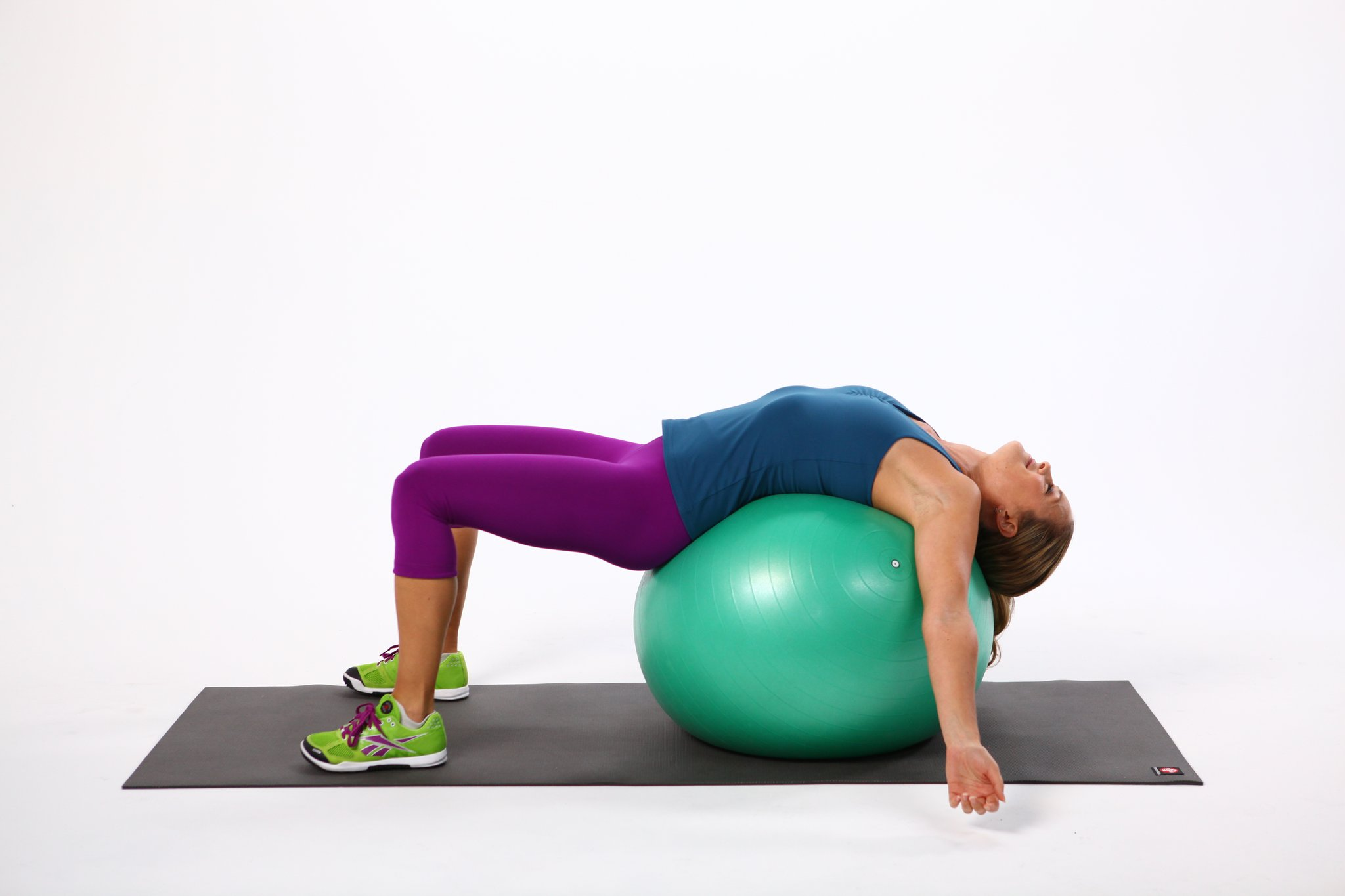 Stretches for Chronic Pain: Stability ball pectoral stretch | Pop Sugar Image